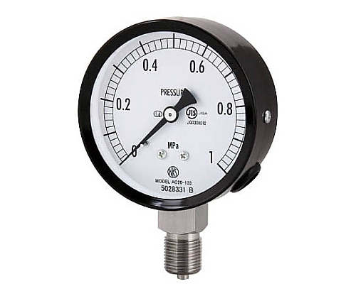 普通形圧力計(A枠立形・φ75・G3/8B・0.0~0.16Mpa) ステンレス製 等