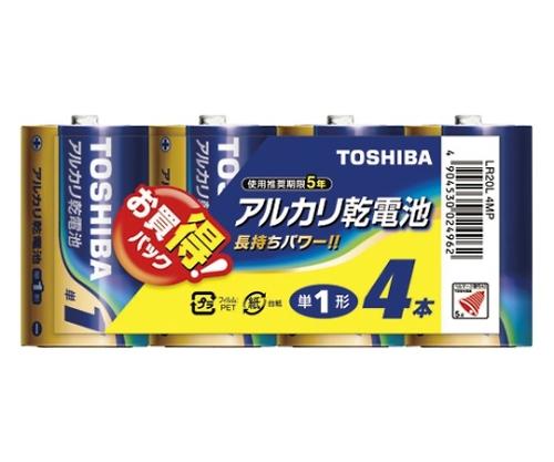 アルカリ乾電池 シュリンクパック 単1形 4本入 LR20L 4MP