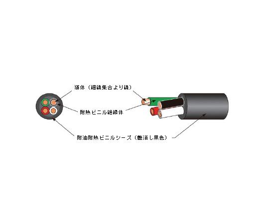 耐油、耐熱、柔軟フレキシブルコード ハイパーソフトHPF♯300 (0.75sq 8.4mm) 10m HPF#300 5C-0.75 ハイパーソフト