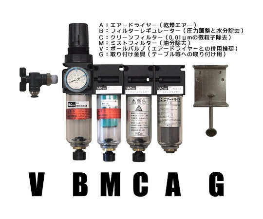クリーンシステム(エアードライヤー、レギュレーター、フィルター2種)ボールバルブ、取付金具付き ABCM45-V-G