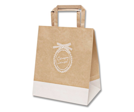 [取扱停止]HEIKO 紙袋 Hフラットチャームバッグ 220-2 ミニヨンリボン 50枚 003277402