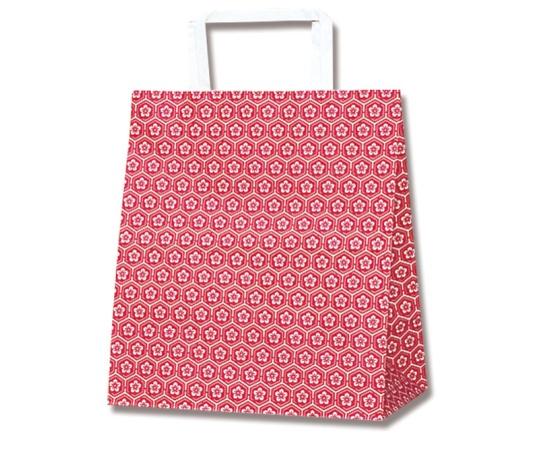 HEIKO 紙袋 H25チャームバッグ S2(平手) 梅小紋 赤 50枚 003263500