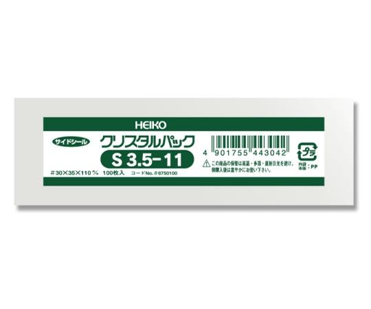 HEIKO OPP袋 クリスタルパック S3.5-11 (サイドシール) 100枚 006750100