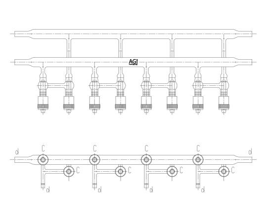 真空ライン(グリースレスバルブ仕様)溝付 芯棒PTFE