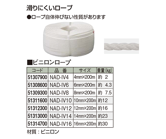 ビニロンロープ NAD-IV14 51313000