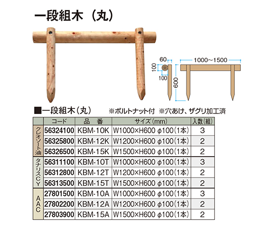 一段組木(丸)クレオソート油KBM-10K 56324100