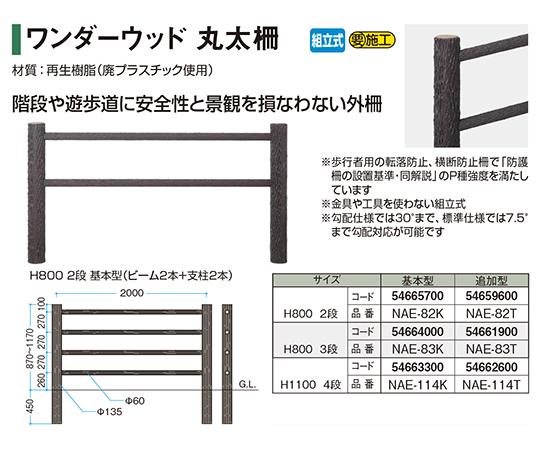 ワンダーウッド丸太柵H8003段基本型NAE-83K 54664000