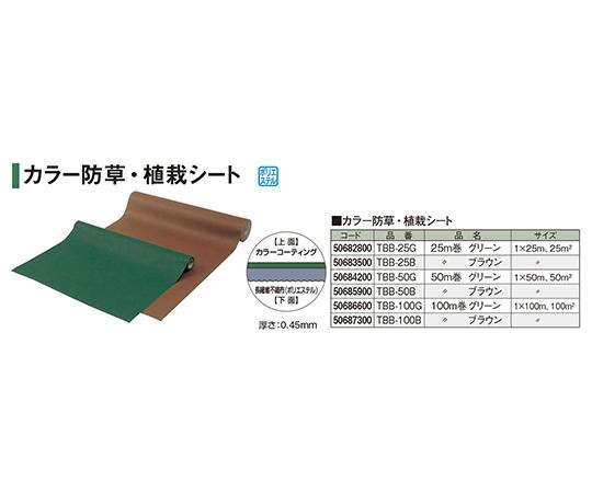 カラー防草・植栽シート50m巻グリーンTBB-50G 50684200