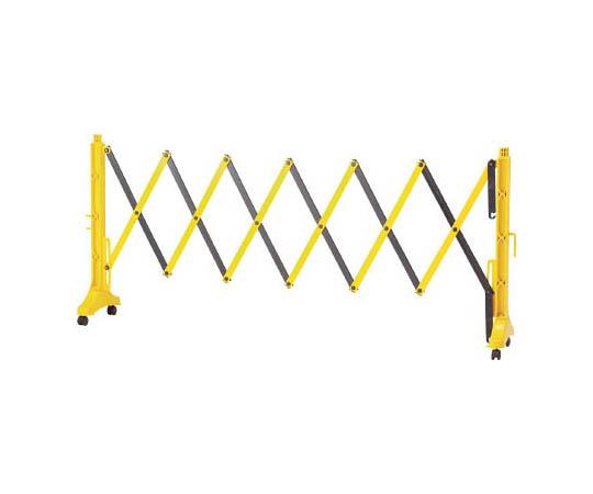 伸縮式バリケード 黄/黒 高さ1m×幅0.5~3.5m 連結可能タイプ