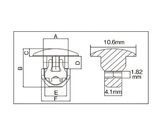 ケーブルタイ固定具 押込み型 4.5mm (1000個入) SUB.2.2301