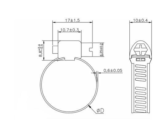 ホースバンド オールSUS 普及 10個入 8×Φ16mm TA8-16