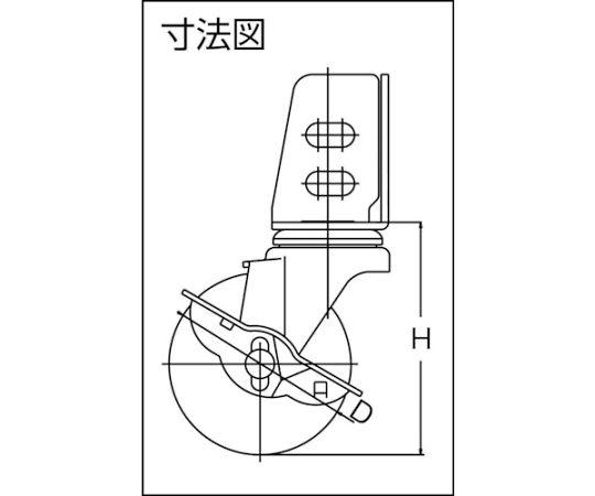 アングル式エラストマーキャスター 自在S付き Φ75 TYSA-75ELS