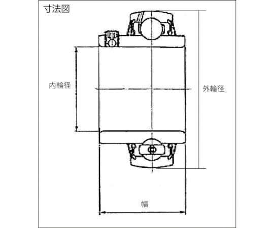 軸受ユニットUC形(円筒穴形、止めねじ式)内輪径25mm外輪径52mm幅34.1mm UC205D1