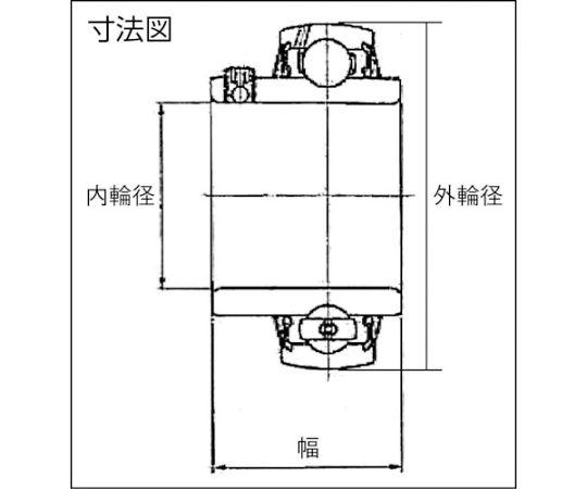 軸受ユニットUC形(円筒穴形、止めねじ式)内輪径40mm外輪径80mm幅49.2mm UC208HT2D1