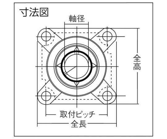 G ベアリングユニット(円筒穴形、止めねじ式)軸径60mm全長187mm全高187mm UCFX12D1