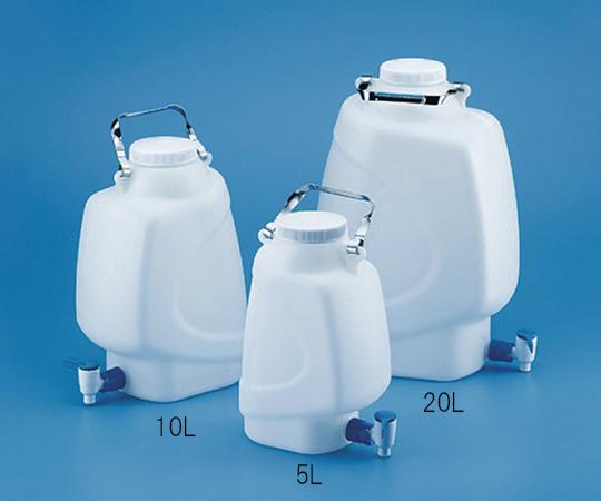 角型大型瓶 ストップコック付 HDPE製 10L