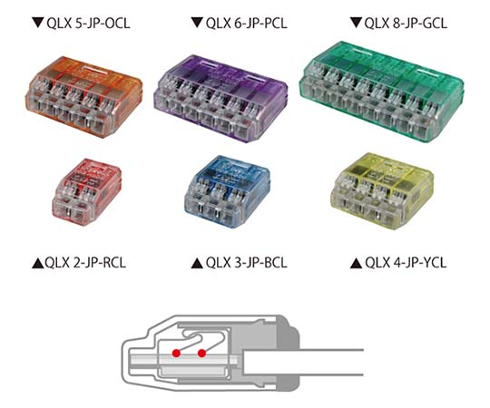 差込形電線コネクタ クイックロック クリアレッド QLX 2-JP-RCL コネクタ 50コ