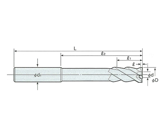 止り穴用右リード 超硬ミルリーマ ストレートシャンク RXS-7.0F