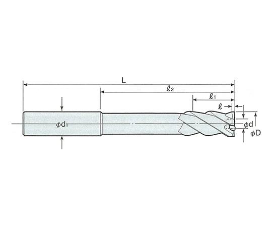 止り穴用右リード 超硬ミルリーマ ストレートシャンク RXS-9.0F