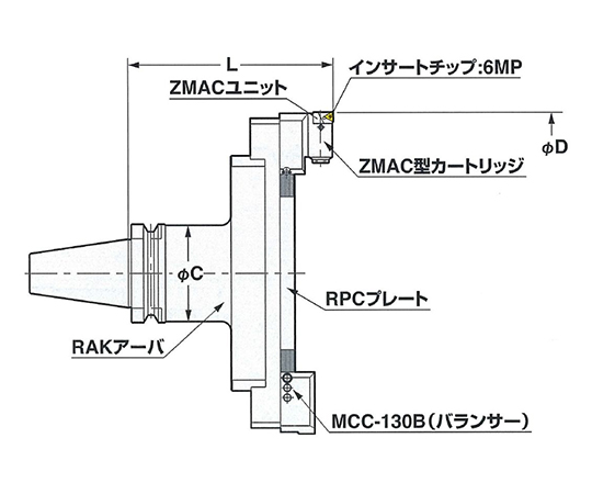 大径用ZMACボーリングバー BT40-BAC180-205