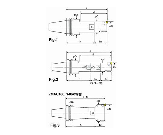 ZMACボーリングバー(中仕上ボーリング) BT40-ZMAC55R-210