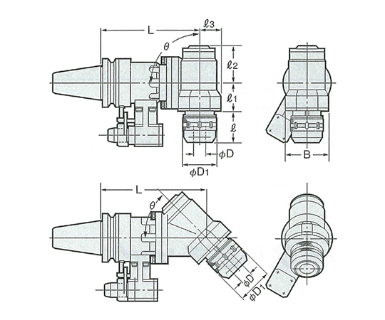 2LOCKソリッド型90°傾斜タイプアンギュラヘッド NBT50-AHK25-210-90