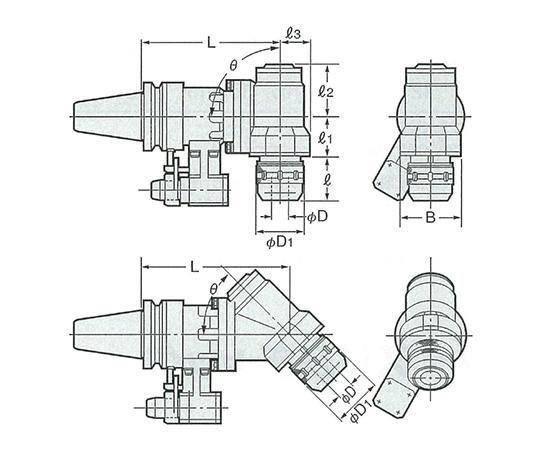 2LOCKソリッド型90°傾斜タイプアンギュラヘッド NBT50-AHK25-300-90