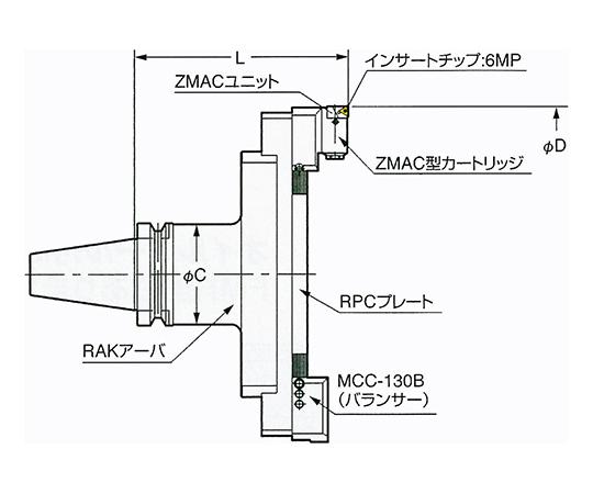 バランスカット大径用ZMACボーリングバー NBT50-BAC530-210