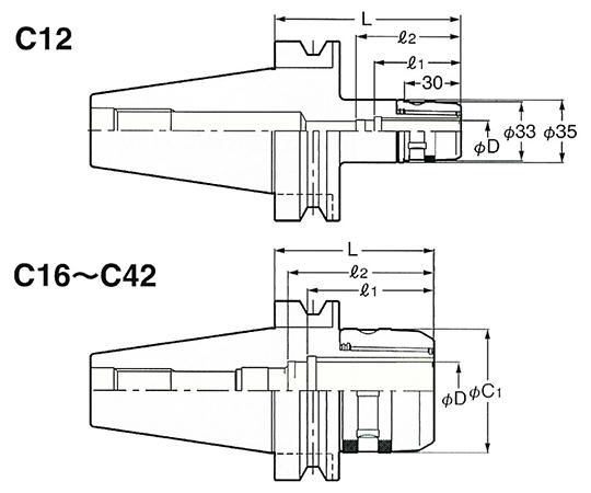 ミーリングチャック NBT50-C32-400