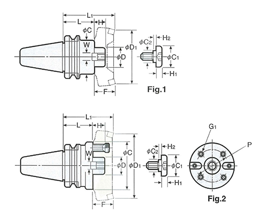 2LOCK正面フライスアーバB型(インチシリーズ) NBT50-FMB38.1-45