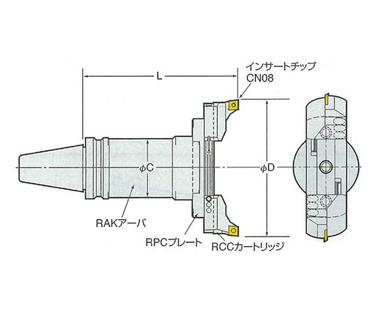 バランスカット大径用ボーリングバー(鉄・鋳物重切削用 NBT50-RAC230-235