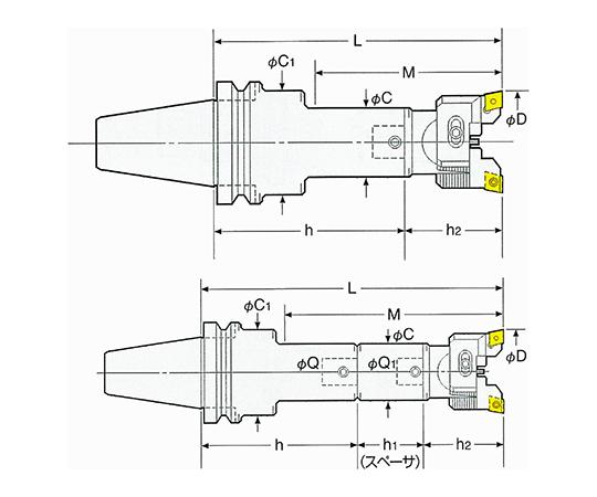 バランスカットボーリングバー(鋼・ステンレス・鋳物用 NBT50-RAC70-285E
