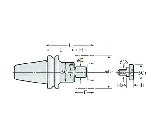 2LOCKシェルエンドミルアーバ(インチシリーズ) NBT50-SMA22.225-180
