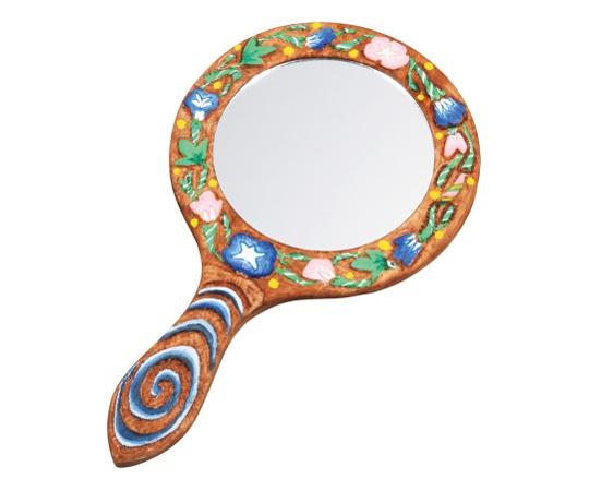 マルチ木彫手鏡 プラモザイク付