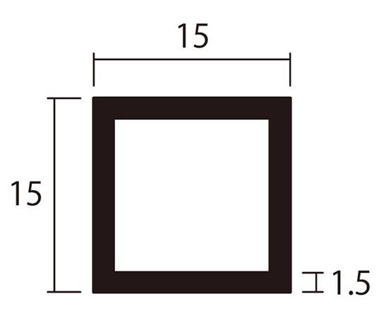 アルミ角パイプ 1m 1.5×15×15mm ブロンズ 4本組