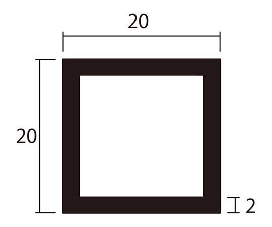 アルミ角パイプ 1m 2.0×20×20mm ブラック 4本組
