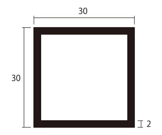 アルミ角パイプ 1m 2.0×30×30mm ブラック 4本組