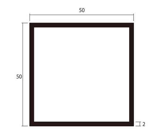 アルミ角パイプ 1m 2.0×50×50mm ブラック 4本組