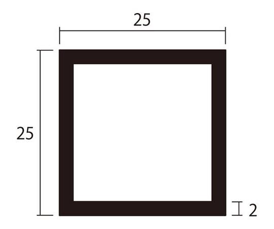 アルミ角パイプ 1m 2.0×25×25mm ステンカラー 4本組
