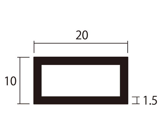 アルミ角パイプ 1m 1.5×10×20mm シルバー 4本組