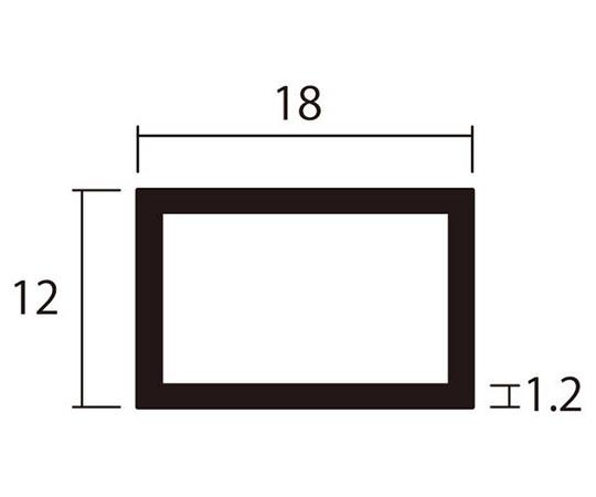 アルミ角パイプ 1m 1.2×12×18mm シルバー 4本組