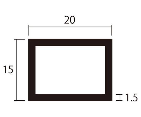 アルミ角パイプ 1m 1.5×15×20mm シルバー 4本組