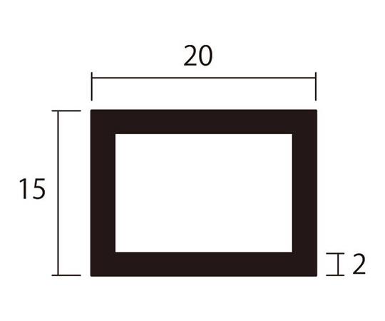 アルミ角パイプ 1m 2.0×15×20mm シルバー 4本組