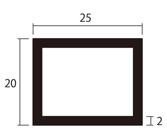 アルミ角パイプ 1m 2.0×20×25mm シルバー 4本組