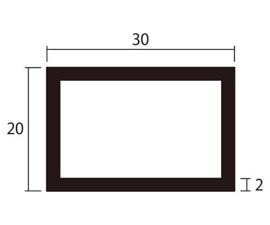 アルミ角パイプ 1m 2.0×20×30mm シルバー 4本組