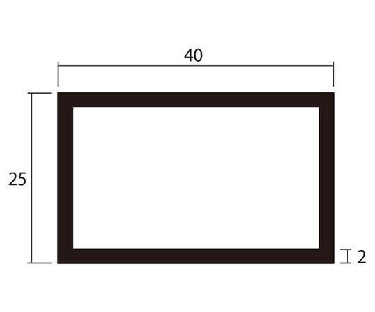 アルミ角パイプ 1m 2.0×25×40mm シルバー 4本組