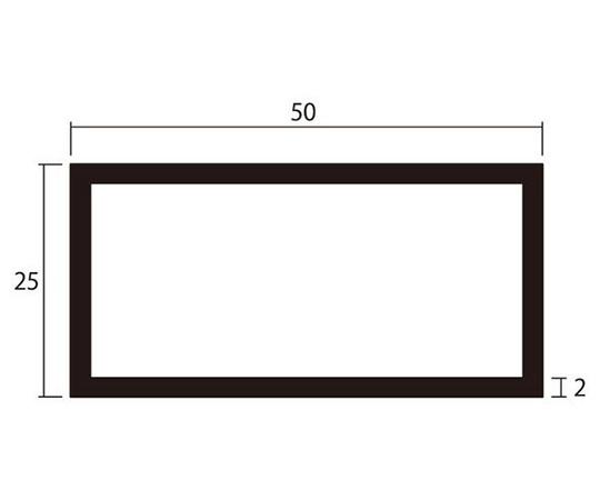 アルミ角パイプ 1m 2.0×25×50mm シルバー 4本組