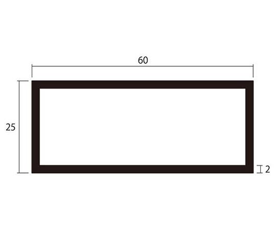 アルミ角パイプ 1m 2.0×25×60mm シルバー 4本組