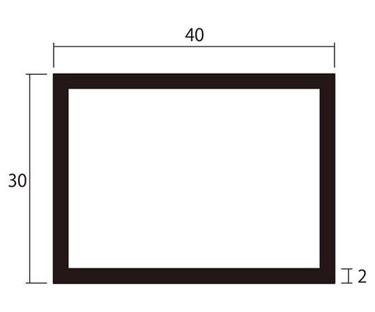 アルミ角パイプ 1m 2.0×30×40mm シルバー 4本組