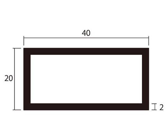 アルミ角パイプ 1m 2.0×20×40mm ブラック 4本組